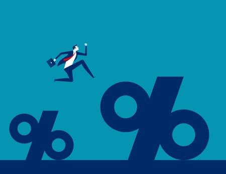 Business man jump to find a bigger percentage. Concept business percentage vector illustration