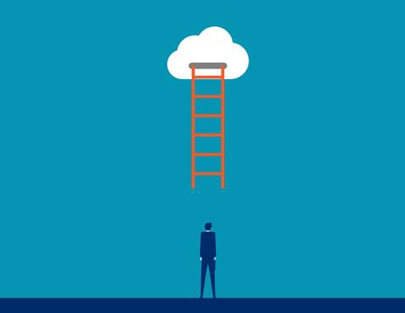 Business person under the ladder. Concept business cloud vector illustration, The Ladder to cloud