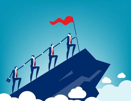Geschäftsleute zusammen zum Erfolg, die jedes Team an den Händen halten. Konzept-Business-Teamwork-Vektor-Illustration Support Vektorgrafik