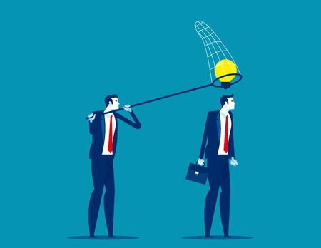 Thief business partner steals ideas for thinking colleague. Concept business plagiarism vector illustration