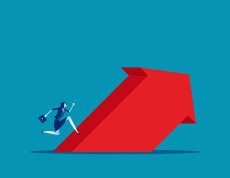 Businessman run up to the arrow. Concept business growth vector illustration, Activity