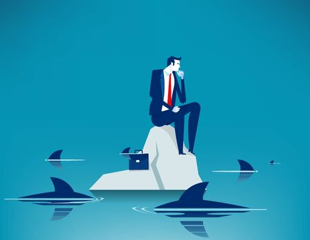 Man on sea surrounded by sharks. Concept business anxiety vector illustration, Trapped