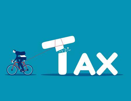 Businessman tax cutter. Concept tax business vector illustration, Broken, Corporate business Çizim