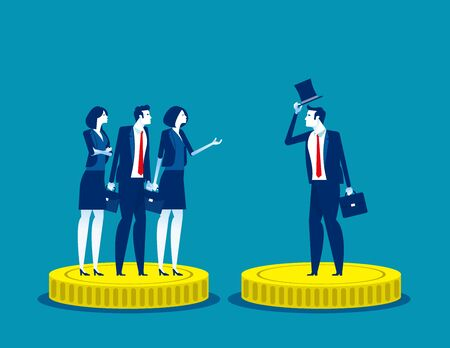 Rich and Poor injustice. Concept business subdivision people vector illustration, Alertness, Financial