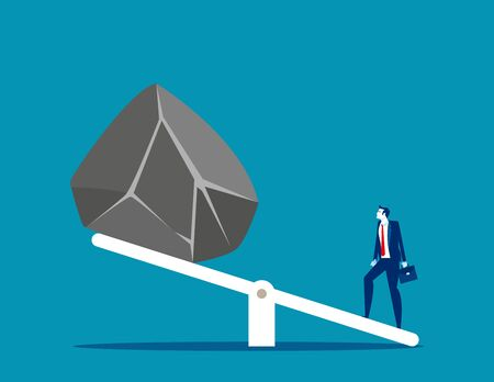 Man with huge stones on seesaw. Concept business balance vector illustration, Rock, Pushing