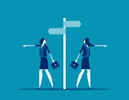 Different choice. Concept business direction vector illustration, Decision, Business cartoon design Illusztráció
