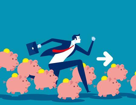 Saving money concept, Running with piggy bank, Flat business cartoon vector illustration.