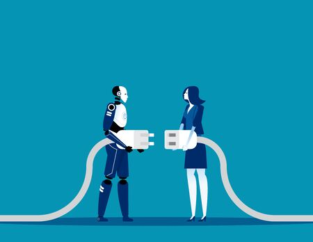 Business and robot connection. Concept artificial intelligence vector illustration, Future collaboration, Human and robot connect plug