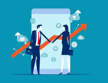 Two financial broker made deal. Stock market exchange concept. Smartphone with growth charts.