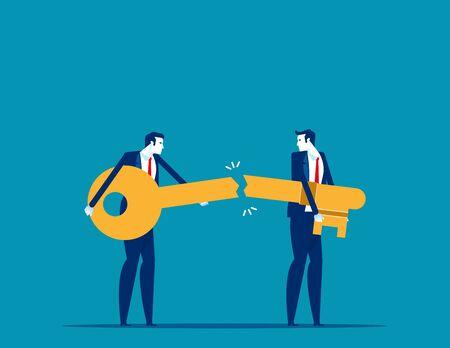 Business success key destroyed. Concept business broke vector illustration, Bankruptcy