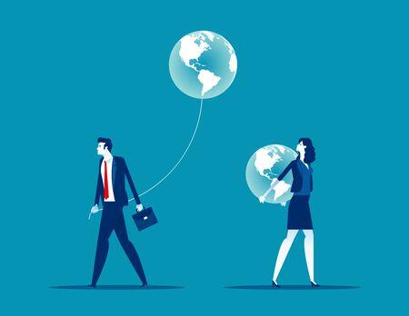 Different people have different direction. Concept business vector illustration, Global Vektorgrafik