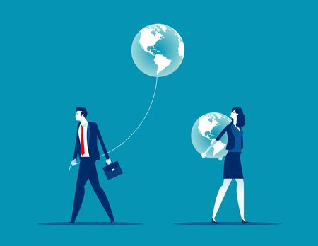 Different people have different direction. Concept business vector illustration, Global Vector Illustratie