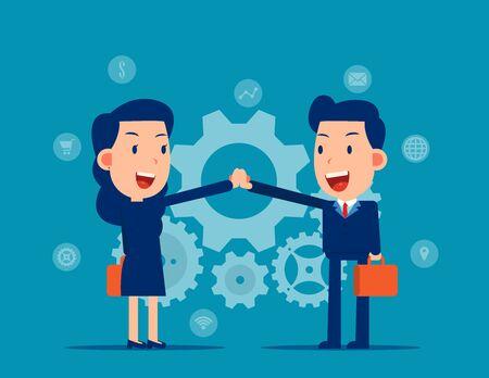 Colleague and hand coordination. Business teamwork concept, Flat cartoon vector illustration
