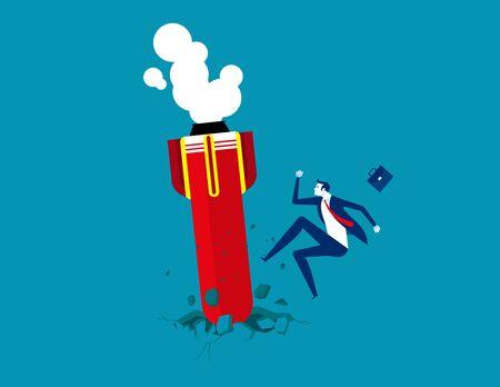 Startup rocket crash on the floor. Concept business start-up vector illustration, Projection and Bankruptcy Çizim