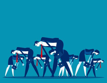 People bowed down and walked discouragedly. Concept business despair vector illustration, Flat cartoon style design. Vectores