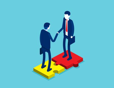 Career on company for leadership corporate as a success to cooperate for a meeting. Partners agreement concept. Contract or partnership Illustration
