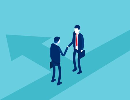Business in suits shake hands. Business agreement and contract concept. Isometric vector cartoon style design
