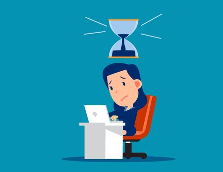 Stressed worker with hourglass that almost run out. Pressure and deadline concept. Cute cartoon vector style