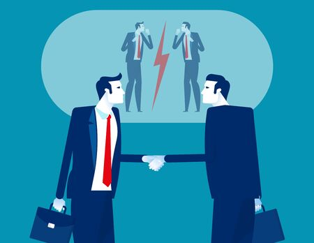 Person are shaking hands on inside and fight on outside. Concept business vector design, Competition Stock Illustratie