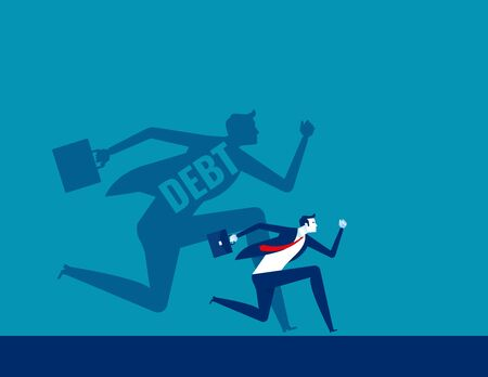 Person run away from debt. Concept business finance vector design, Shadow, Flat cartoon style design