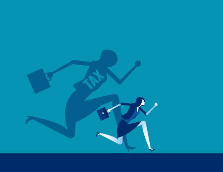 Person run away from tax. Concept business finance vector design, Shadow, Flat cartoon style design