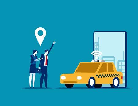 Online car sharing, Concept business trasportation vector illustration, Mobile city transportation