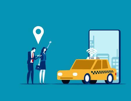 Online car sharing, Concept business trasportation vector illustration, Mobile city transportation Vectores