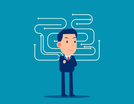 Business direction with confused thoughts. Business brainstorming concept. Cute flat cartoon vector design Illustration