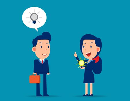 Manager give new idea for colleague. Business creativity concept. Flat cartoon vector style