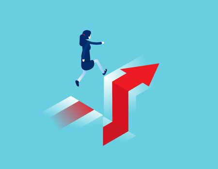 Business jumps over a cliff. Edge of gap concept. Isometric vector cartoon style