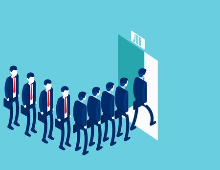 Business people waiting for job. Business Job interview. Cartoon vector in isometric style