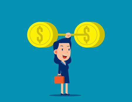 Businessman raise money. Weightlifting concept. Little business cartoon vector style