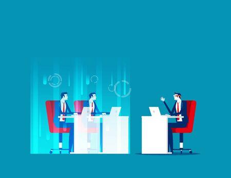 Video screenshot future, Hologram technology concept, The 4th industrial revolution Ilustração Vetorial