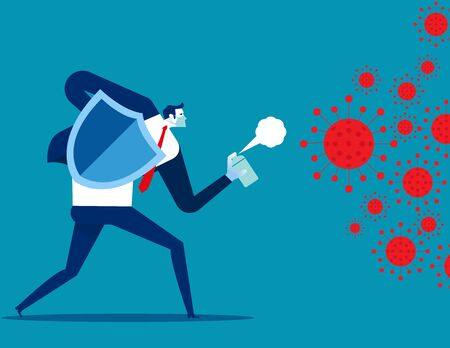 People fighting COVID 19 virus. Implications for business Illustration