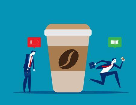 Depressed office worker and emotional burnout. Coffee break Illustration
