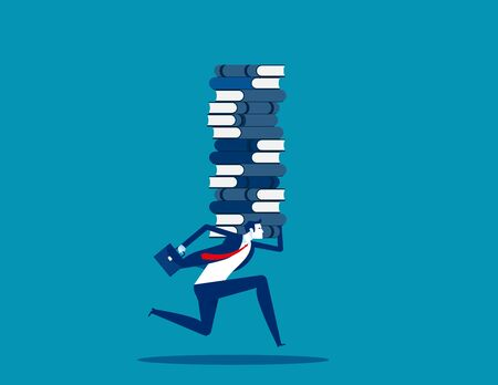 Businessman raising stack of books. learning concept