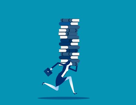Businesswoman raising stack of books. learning concept