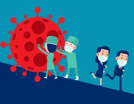 Doctors help stop the virus. Pandemic COVID-19, Medical Staff Vecteurs