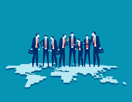 Business team standing on top of. Globalization connection concept. Flat cartoon vector illustration design. 矢量图像