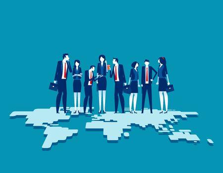 Business team standing on top of. Globalization connection concept. Flat cartoon vector illustration design. Vektorgrafik