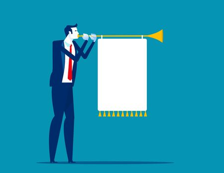 Man blowing a horn with a banner. Business communication concept. Flat cartoon vector illustration style