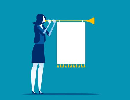 Woman blowing a horn with a banner. Business communication concept. Flat cartoon vector illustration style