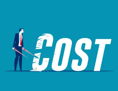 Businessman cutting cost. Reduction concept. Flat cartoon vector illustration style design