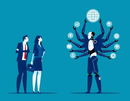 Robot taking over human jobs in future. Replace humans working concept. Flat cartoon vector illustration style Ilustración de vector