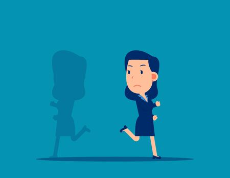 Shadow running different way. Business direction concept. Cartoon vector style design