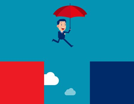 Business person jump. Escape concept. Flat business vector style Illustration