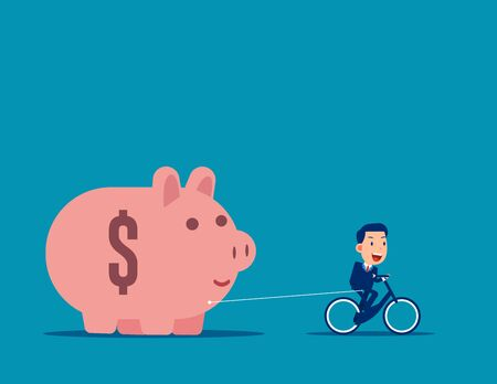 Riding and pulling piggy bank. Business budget and saving concept. Flat business vector style