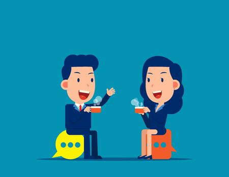 Meeting and talking. Break time vector illustration Illustration