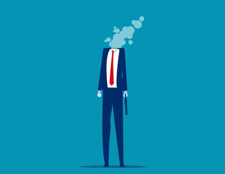 Businessman dissolves in smoke. Flat cartoon vector style design