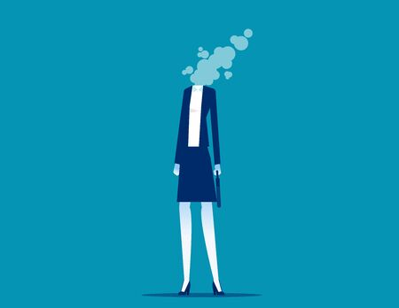 Businesswoman dissolves in smoke. Flat cartoon vector style design